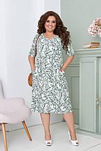 Легке літнє плаття жіноче великого розміру 50,52,54,56, короткий рукав, з кишенями, М'ятний колір