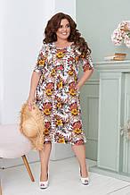 Легке літнє плаття жіноче великого розміру 50,52,54,56, короткий рукав, з кишенями, колір Білий з квітами