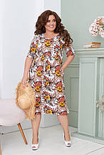 Летнее легкое платье женское большого размера 50,52,54,56, короткий рукав, с карманами, цвет Белый с цветами