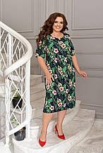 Легке літнє плаття жіноче великого розміру 50,52,54,56, короткий рукав, з кишенями, колір Зелений з квітами