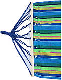 Гамак з великою дерев'яною планкою тканина бавовна для дачі саду відпочинку планка 80 см полотно 200х80 см Синій, фото 3