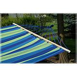 Гамак з великою дерев'яною планкою тканина бавовна для дачі саду відпочинку планка 80 см полотно 200х80 см Синій, фото 4