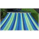 Гамак з великою дерев'яною планкою тканина бавовна для дачі саду відпочинку планка 80 см полотно 200х80 см Синій, фото 6