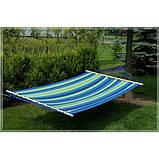 Гамак з великою дерев'яною планкою тканина бавовна для дачі саду відпочинку планка 80 см полотно 200х80 см Синій, фото 7