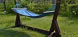 Гамак з великою дерев'яною планкою тканина бавовна для дачі саду відпочинку планка 80 см полотно 200х80 см Синій, фото 9