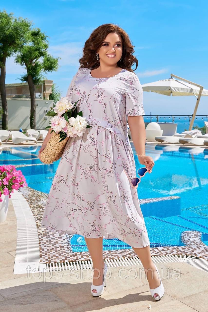 Легке літнє плаття жіноче великого розміру 50,52,54,56, короткий рукав, Колір Світла Бузок