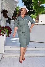 Легке літнє лляне жіноче плаття великого розміру, короткий рукав, плаття сорочка 48 Зелений