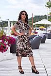 Літнє плаття жіноче великого розміру 50, 52, 54, 56, плаття короткий рукав, колір Леопард, фото 2