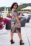 Літнє плаття жіноче великого розміру 50, 52, 54, 56, плаття короткий рукав, колір Леопард, фото 3