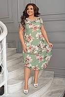 Нарядное летнее шифоновое платье больших размеров 50,52,54,56, платье на подкладке, Зеленое