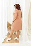 Летние женское стильное платье батальное 50,52,54,56, свободного кроя повседневное, с карманами, нежный персик, фото 3