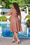 Жіноче літнє плаття великого розміру 48, 50, 52, 54, легке, вільного крою, з змійкою і поясом, Персиково, фото 3