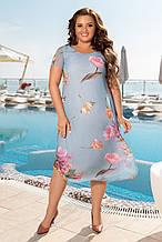 Ошатне літній шифонова сукня великих розмірів 50,52,54,56, блакитне
