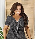 Жіноче літнє плаття великого розміру 48, 50, 52, 54, легке, вільного крою, з змійкою і поясом, Сіре, фото 4