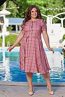 Женское летнее платье большого размера 48, 50, 52, 54, легкое, свободного кроя, со змейкой и поясом, Розовое
