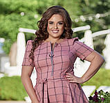 Жіноче літнє плаття великого розміру 48, 50, 52, 54, легке, вільного крою, з змійкою і поясом, Рожеве, фото 3