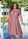 Жіноче літнє плаття великого розміру 48, 50, 52, 54, легке, вільного крою, з змійкою і поясом, Рожеве, фото 4