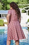 Жіноче літнє плаття великого розміру 48, 50, 52, 54, легке, вільного крою, з змійкою і поясом, Рожеве, фото 5