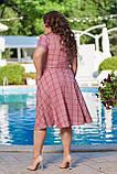 Жіноче літнє плаття великого розміру 48, 50, 52, 54, легке, вільного крою, з змійкою і поясом, Рожеве, фото 6