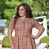 Жіноче літнє плаття великого розміру 48, 50, 52, 54, легке, вільного крою, з змійкою і поясом, Персиково, фото 4