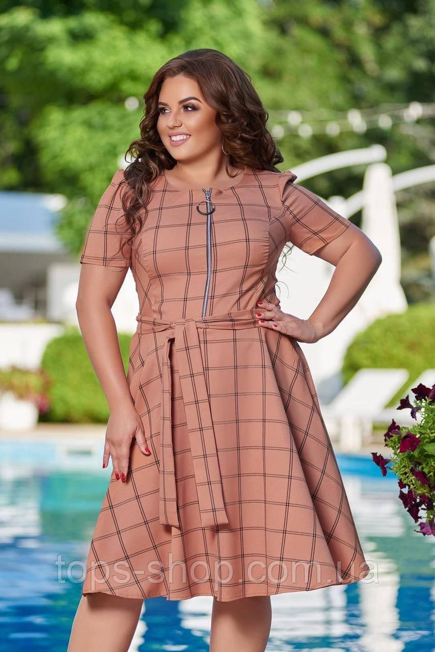 Жіноче літнє плаття великого розміру 48, 50, 52, 54, легке, вільного крою, з змійкою і поясом, Персиково
