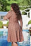 Жіноче літнє плаття великого розміру 48, 50, 52, 54, легке, вільного крою, з змійкою і поясом, Персиково, фото 5