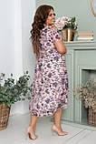 Ошатне літнє плаття з відкритими плечима великих розмірів 52,54, Бузкове з квітами, фото 3