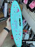 Скейт Penny Board, із широкими світлими колесами і ручкою, Пенні борд, дитячий ,від 5 років, Блакитний з Фламінго, фото 2