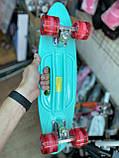 Скейт Penny Board, із широкими світлими колесами і ручкою, Пенні борд, дитячий ,від 5 років, Блакитний з Фламінго, фото 4