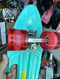 Скейт Penny Board, із широкими світлими колесами і ручкою, Пенні борд, дитячий ,від 5 років, Блакитний з Фламінго, фото 6