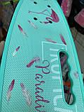Скейт Penny Board, із широкими світлими колесами і ручкою, Пенні борд, дитячий ,від 5 років, Блакитний з Фламінго, фото 7
