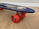 Скейт Penny Board, із широкими світлими колесами, з ручкою, Пенні борд, дитячий ,від 5 років, Синій Горила, фото 4