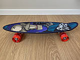 Скейт Penny Board, із широкими світлими колесами, з ручкою, Пенні борд, дитячий ,від 5 років, Синій Горила, фото 5