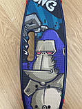 Скейт Penny Board, із широкими світлими колесами, з ручкою, Пенні борд, дитячий ,від 5 років, Синій Горила, фото 7