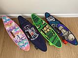 Скейт Penny Board, із широкими світлими колесами, з ручкою, Пенні борд, дитячий ,від 5 років, Синій Горила, фото 8
