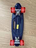 Скейт Penny Board, із широкими світлими колесами, з ручкою, Пенні борд, дитячий ,від 5 років, Синій Горила, фото 9