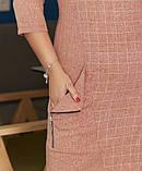 Сукня жіноча великого розміру, 50, 52, 54, 56, плаття весна-осінь, Персикове в клітку, фото 3