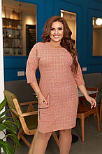Платье женское большого размера, 50, 52, 54, 56, платье весна-осень, Персиковое в клетку