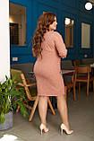 Платье женское большого размера, 50, 52, 54, 56, платье весна-осень, Персиковое в клетку, фото 5