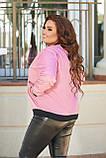 Жіноча тонка куртка великого розміру 48, 50, 52, 54, плащівка, бомбер, вітровка, Рожева, фото 2