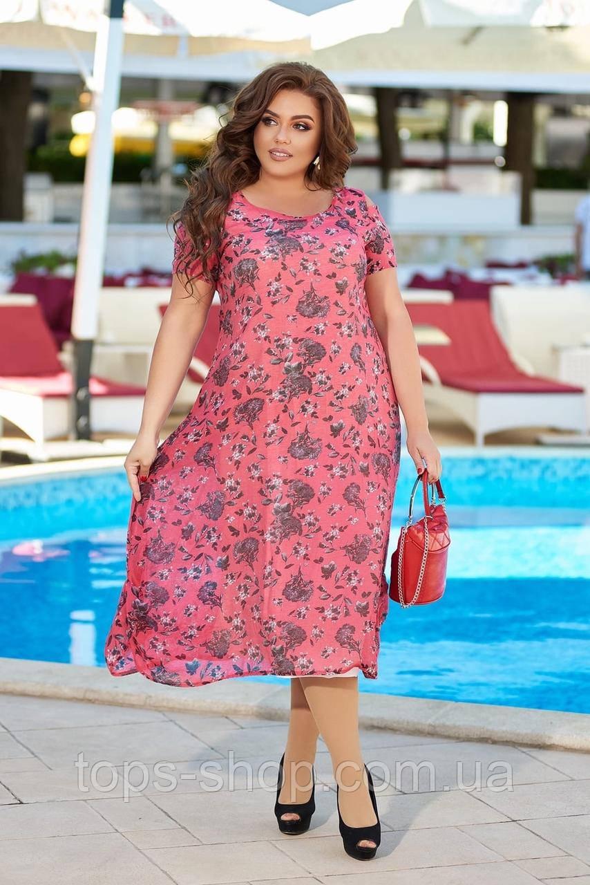 Нарядное летнее шифоновое платье с открытыми плечами больших размеров 50,52,54,56, Малиновое с цветами