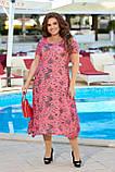 Нарядное летнее шифоновое платье с открытыми плечами больших размеров 50,52,54,56, Малиновое с цветами, фото 2