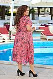 Нарядное летнее шифоновое платье с открытыми плечами больших размеров 50,52,54,56, Малиновое с цветами, фото 3