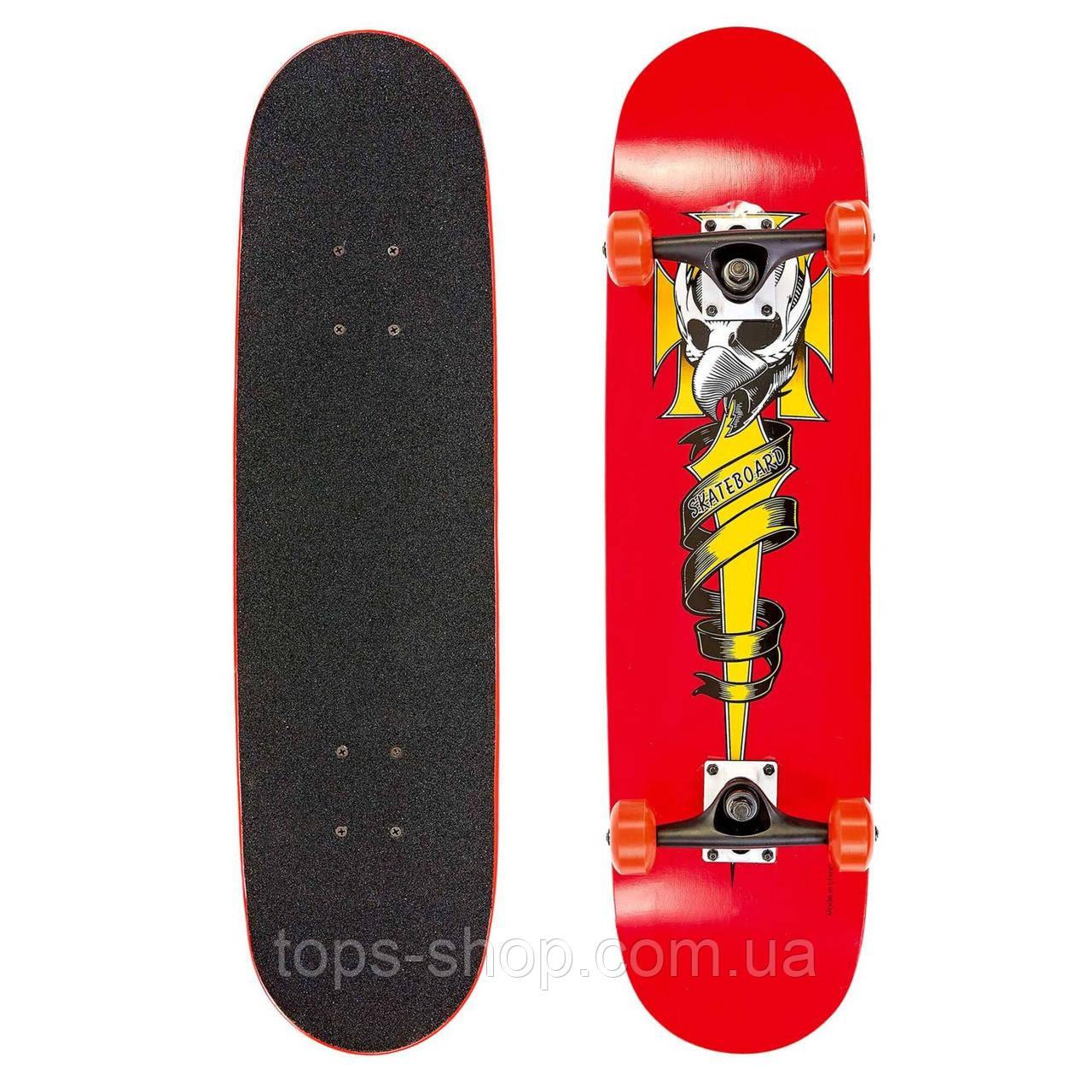 Скейт деревянный, Скейтборд, натуральный канадский клен, для трюков, Red Skull , качество премиум!!!