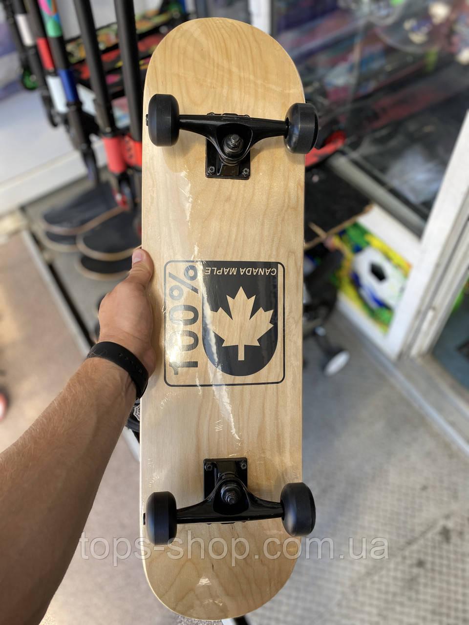 """Скейт деревянный, Скейтборд """" Canada 100 % """" , натуральный канадский клен, дека 79х20 см, супер качество"""
