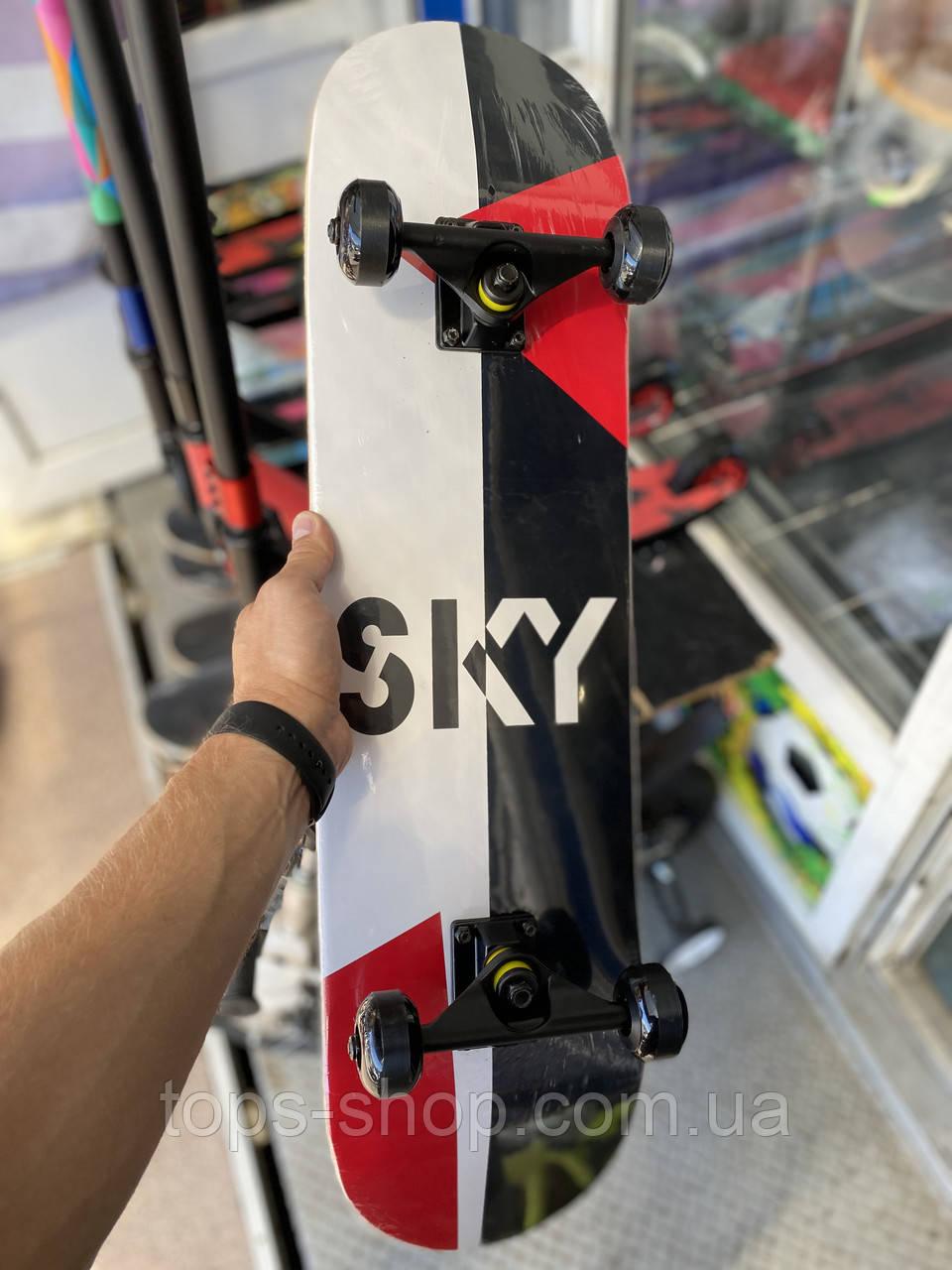 """Скейт дерев'яний, Скейтборд """" Sky """" , натуральний канадський клен, дека 79х20 см, супер якість"""