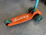 Дитячий триколісний самокат складаний Scooter 2188 зі світними колесами, підсвічуванням і музикою, Помаранчевий, фото 2