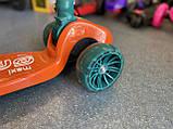 Дитячий триколісний самокат складаний Scooter 2188 зі світними колесами, підсвічуванням і музикою, Помаранчевий, фото 9