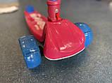 Дитячий триколісний самокат складаний Scooter 2188 зі світними колесами, підсвічуванням і музикою, Малиновий, фото 2
