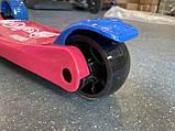 Дитячий триколісний самокат складаний Scooter 2188 зі світними колесами, підсвічуванням і музикою, Малиновий, фото 3